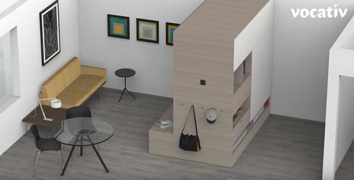 ワンルーム・マンションのお部屋で活躍する、空間を仕切ってくれるロボット発見!